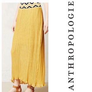 HP ANTHRO Yellow Pleated Chevron Long Spring Skirt